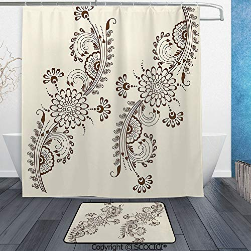 SCOCICI 3D Printed Waterproof Shower Curtain Set of 2 Abstract Floral Elements South Asian Mehndi Style Oriental Design 60