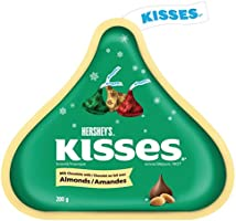 Hershey's Kisses Milk Chocolates with Almonds (Red and Gold), 200-Gram