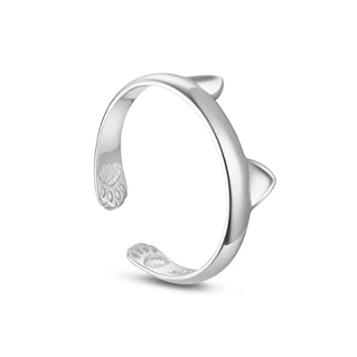 Sweetiee 925 Sterling Silver Kitten Ring Silver Size Q Adjuatble for Woman eNCucIQD