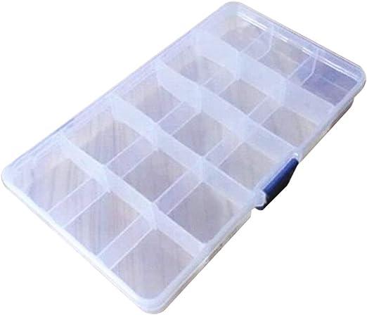 BIYI 15 Cuadrícula Caja de Almacenamiento Creativa para Objetos de Valor Joyería Caja de plástico Transparente Joyero Organizador Contenedor de Almacenamiento (Azul): Amazon.es: Hogar