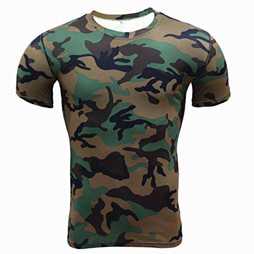 Alamor Heren Camouflage Training Fitness Tees Tops Sneldrogende Elastische Compressie Strakke Sport T-shirt-Camo-L