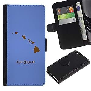 """A-type (Lilo Stitc"""") Colorida Impresión Funda Cuero Monedero Caja Bolsa Cubierta Caja Piel Card Slots Para Apple iPhone 5 / iPhone 5S"""