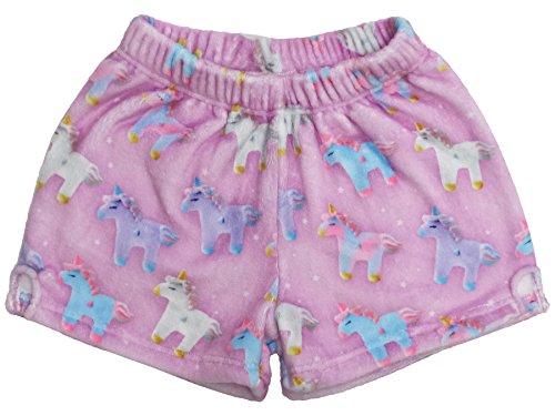 - iscream Big Girls Silky Soft Print Plush Shorts - Unicorns and Stars, Small
