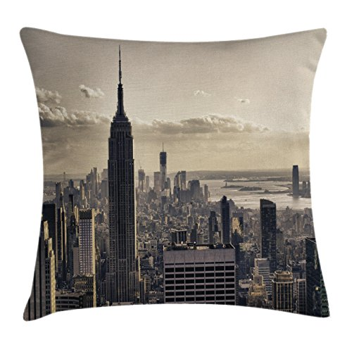 American Throw Pillow Cushion Cover by Ambesonne, Aerial View of NYC in Winter Time American Architecture Historic Metropolis Photo, Decorative Square Accent Pillow Case, 20 X 20 Inches, Beige - Stores Nyc In Times Square