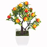 artificial orange fruit tree - JAROWN Artificial Fruits Plants MINI Plastic Bonsai Lucky Tree Flowers for Home Office Table Decoration (Orange)