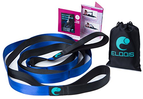 Stretching Strap with Loops for Flexibility - Original Stretch Out Strap for Physical Therapy, Yoga, Dance & Pilates – Perfect for Leg & Shoulder Workout – BONUS Exercise BOOKLET + Gift Carrying Bag