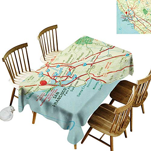 Map Anti-Wrinkle and Anti-Wrinkle Polyester Long Tablecloth for Weddings/banquets Vintage Map of San Francisco Bay Area with Red Pin City Travel Location W60 x L126 Inch Light Blue Pale Green Red (Best Wedding Locations Bay Area)