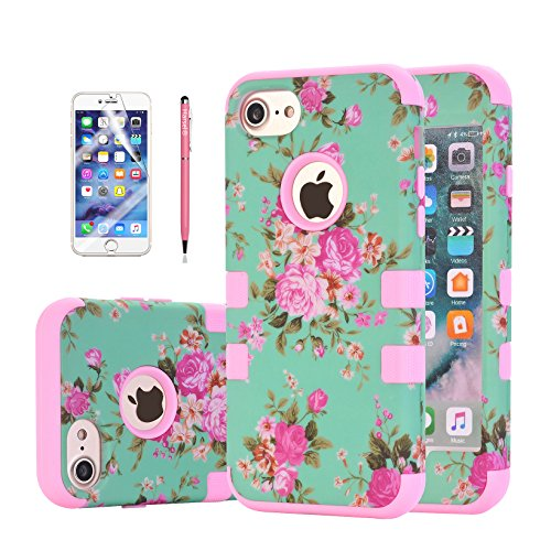 iPhone 7 Plus Floral Case, Harsel Vintage Floral Flowers Design Dual Layer Rugged Hybrid Armor Silicone TPU Plastic Shockproof Bumper High Impact Durable Case Shell for Apple iphone 7 Plus ()