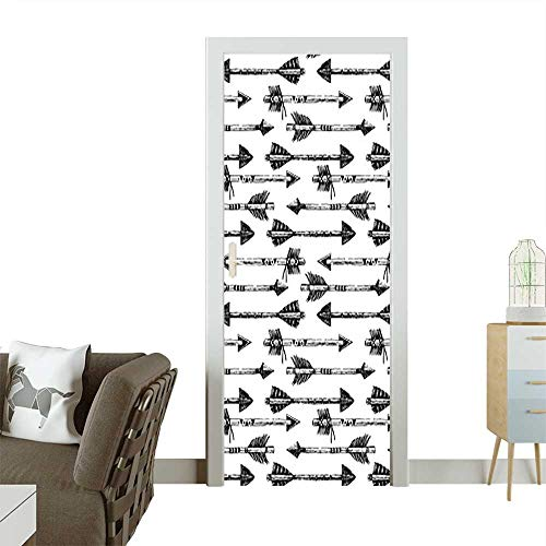 Door Art Sticker Horizontal Arrows in Tribal Style Pointing Opposite Directions Pattern Accessories Black Room decorationW30 x H80 INCH]()