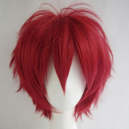 S-noilite Women Mens Short Fluffy Straight Hair Wigs Anime Cosplay Party Dress Costume Pixie Wig (Wine (Pixie Wigs Halloween)