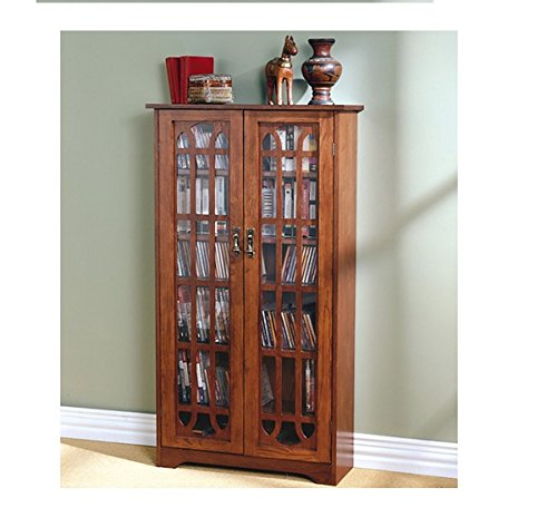 Double Door Cd Cabinet (Safely Store Your Favorite Dvds on a 6-shelf Entertainment Cabinet with Media Glass Paneled Holder Made with Oak Wood That Has Double-doors for Opening Design. This Item Is Great for Storing Books, Collectibles, Keepsakes and Much More.)