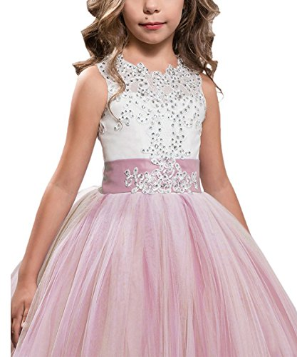 KSDN Blush Pink Lace Bodice Tulle Ball Gown Flower Girl Dresses Communion Gowns KN0001 (US 10, Blush - Times Mail Delivery Us