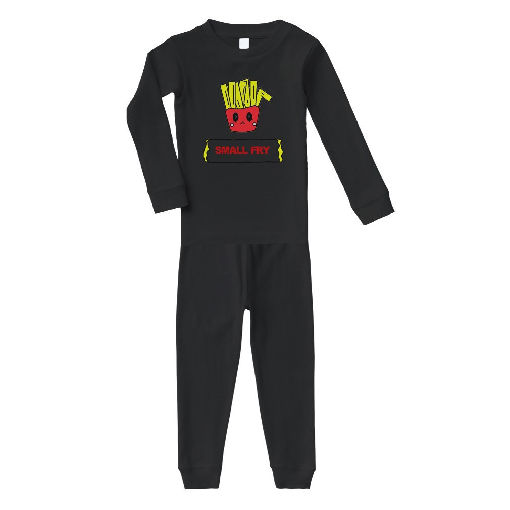 Bag Of French Fries Red Text Small Fry Cotton Long Sleeve Crewneck Unisex Infant Sleepwear Pajama 2 Pcs Set Top and Pant - Black, 12 Months