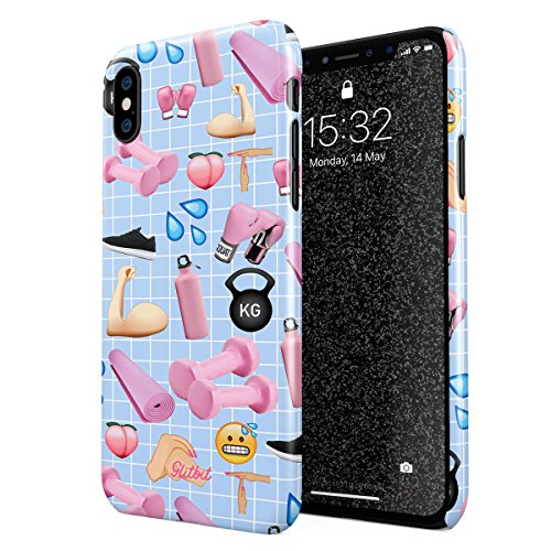 - Glitbit Compatible with iPhone X, iPhone Xs Case Workout Fintess Junkie Addict Gym Motivational Cute Emojis Weight Lifting Squats Gains Thin Design Durable Hard Shell Plastic Protective Case Cover