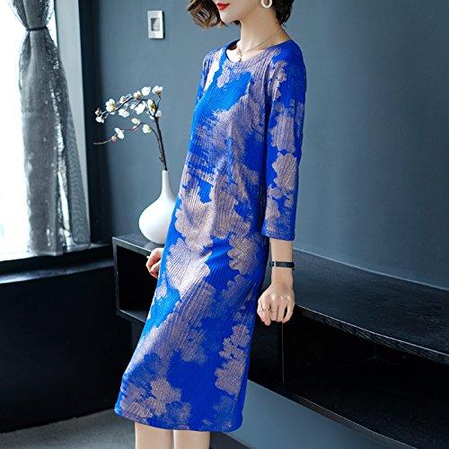 XIU*RONG Madre Del Vestido Suelto En Primavera Y Otoño blue