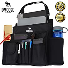 "Car Front Passenger Seat Organizer with Laptop & Tablet Storage by DMoose (17""X14"") – Adjustable Straps, Strong Buckles, Neoprene Thermal Pockets – Keep Car Necessities Organized and Within Easy Reach"