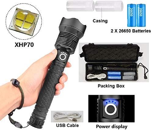 Senderismo con bater/ía ZB TOP Linterna de Mano Xhp70 UltraVision Pro Impermeable Ciclismo al Aire Libre Recargable para Acampar telesc/ópica Emergencia con Zoom 7000 l/úmenes antorcha