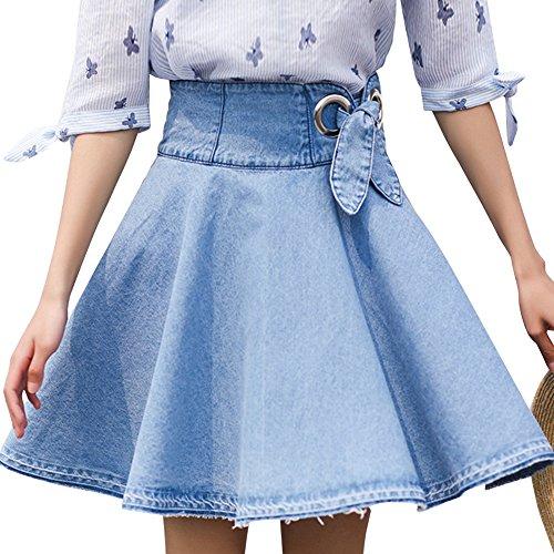 Mujer Vintage Faldas Vaquera Cintura Alta Grandes Dobladillo Falda Corto de Mezclilla Azul Claro
