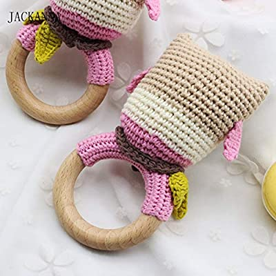 Crochet Owl Baby Rattle Teether Wooden Ring Handmade Animal Shape Chew Toy BPA Free Wood Teething Nursing Gifts Baby Teether Toy: Home & Kitchen