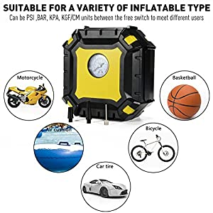 Portable Air Compressor Pump, Auto Digital Tire Inflator with Gauge, 12V 100PSI Auto Air Compressor Preset Pressure Shut Off with LED Light for Car, Truck, Bicycle, Basketballs (Pointer display)
