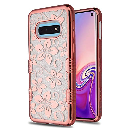 Kaleidio Case Compatible for Samsung Galaxy S10e [TUFF T-Clear] Hybrid Full Glitter TPU Gel [Anti-Shock] Skin Cover [Rose Gold Hibiscus Flowers]