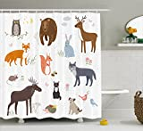 Ambesonne Cabin Decor Shower Curtain by, Cute Animals in Spring Meadow Childish Woodland Fauna Kids Baby Room Nursery, Fabric Bathroom Decor Set with Hooks, 75 Inches Long, Multicolor