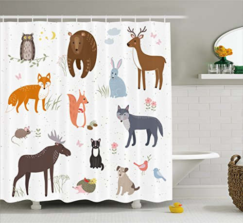 Ambesonne Cabin Decor Shower Curtain by, Cute Animals in Spring Meadow Childish Woodland Fauna Kids Baby Room Nursery, Fabric Bathroom Decor Set with Hooks, 75 Inches Long, Multicolor by Ambesonne