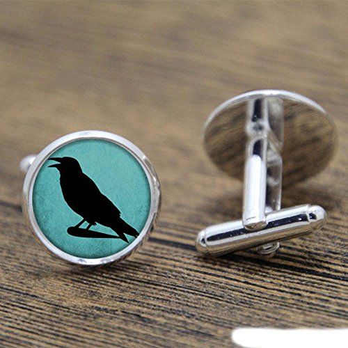 Vintage Crow on the Turquoise Photo Glass Cuff Links-Silver Crow Cufflinks for Men Women-Handmade Boyfriend Wedding Christmas Gift ()