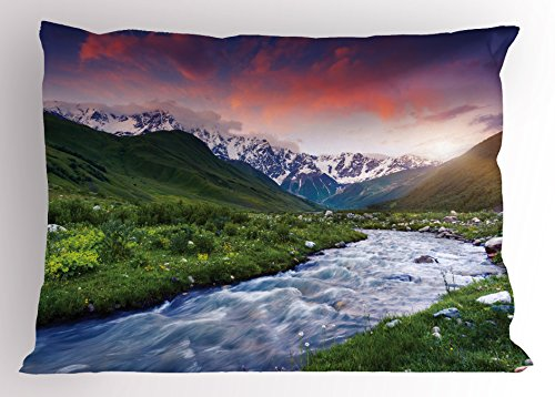 Ambesonne Asian Pillow Sham, Colorful Overcast Sky Skirts Mt. Shkhara Svaneti Georgia Caucasus Mountains, Decorative Standard Size Printed Pillowcase, 26 X 20 Inches, Fern Green Baby Blue