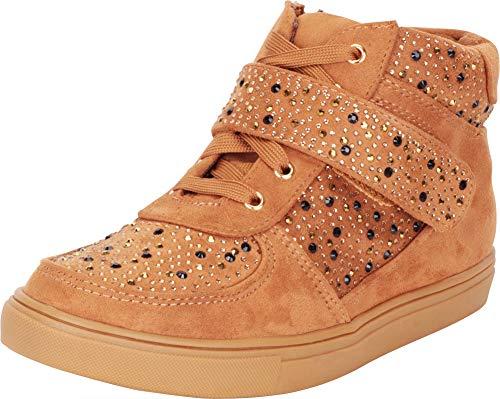 (Cambridge Select Women's High Top Crystal Rhinestone Lace-Up Strap Fashion Sneaker,8.5 B(M) US,Tan IMSU)