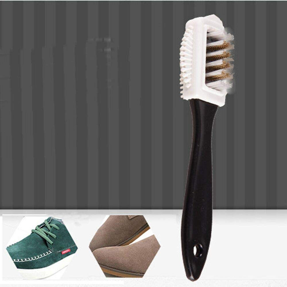 Ecurson Three-sided brush,Durable Black S Shape Boot Shoes Cleaner 3 Side Shoe Cleaning Brush Suede