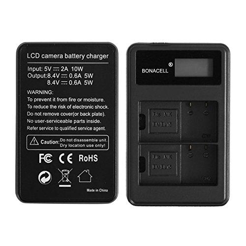 Bonacell 2 Pack 2000mAh Replacement Nikon EN-EL15 Battery and LCD Dual Charger for Nikon 1 V1, D850, D7500, D7000, D7100, D7200, D800, D800E, D810, D810A, D750, D600, D610 Digital SLR Camera