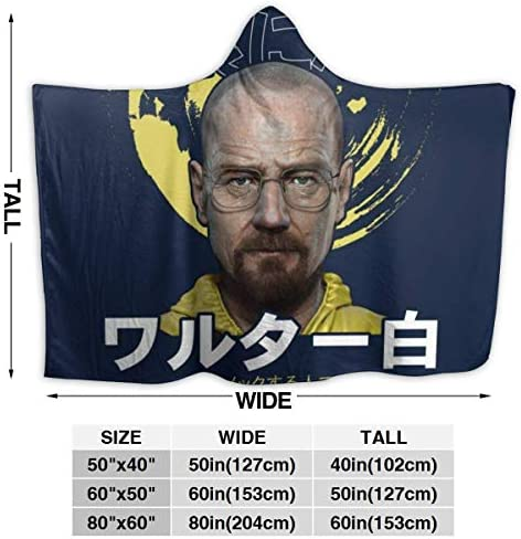 Couverture à capuche Breaking Bad Heisenberg Texte japonais Super Doux Polaire Flanelle Couverture à capuche Fit Lit Canapé Portable pour Enfants Femmes Hommes 60 'X50'