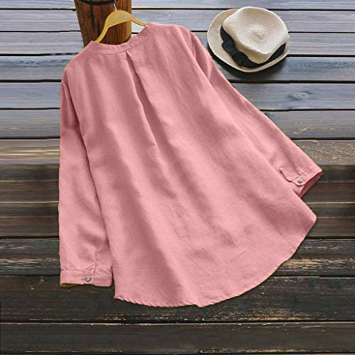 Shirt Couleur rose Blouse Pullover longues Femmes manches Neck Button Moonuy Mini et Robe unie Blouse Retro Casual taille Grande Shirt Mode Bouton T Femme t Tops lin Loose V Coton chemise Aq1tCx