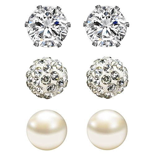 (JewelrieShop Cubic Zirconia Rhinestones Crystal Ball Faux Pearl Birthstone Stud Earrings for Women Girls - Hypoallergenic Stainless Steel Earrings - 3 Pairs - White (Apr.))