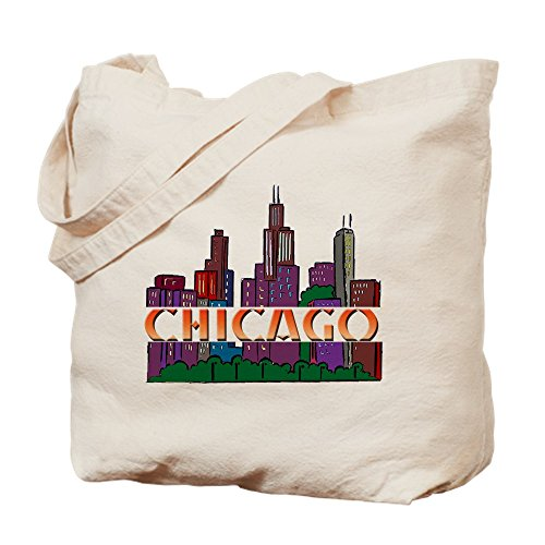 CafePress - Chicago Skyline - Natural Canvas Tote Bag, Cloth Shopping - Chicago Il Shopping
