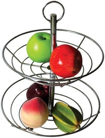 2//3 Tier Fruit Basket Rack Stand Holder Storage Chrome Metal Wire Ellipse Bowl
