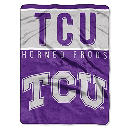"""The Northwest Company Officially Licensed NCAA TCU Horned Frogs Basic Plush Raschel Throw Blanket, 60"""" x 80"""", Purple"""