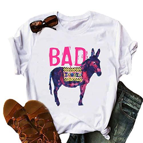 YourTops Bad Ass Donkey Funny T-Shirt Women Graphic Shirt Funny Tee (US XL, 2-White) (Ass Womens T-shirt)