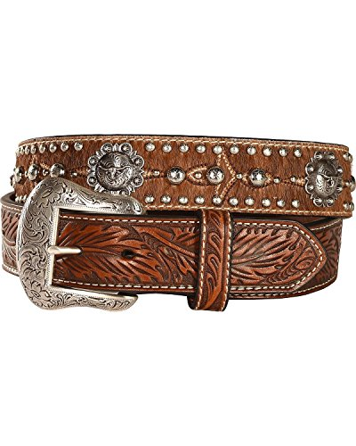Nocona Men's Longhorn Berry Concho Hair-On-Hide Belt Tan 32 - Hide Concho