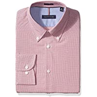 Tommy Hilfiger Men's Dress Shirts Non Iron Slim Fit Check Buttondown Collar