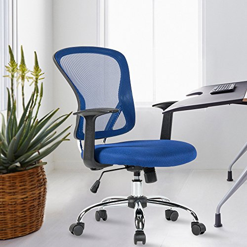 YAMASORO Office Mesh Task Chair Mid Back Swivel Computer Desk Chairs with Backrest,Armrest and Adjustable Seat Height for Home Office Conference Room (Blue-7425)