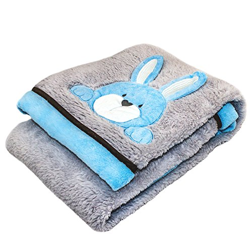 Cozy Fleece Super-Soft Plush Crinkle Ear Bunny Baby Blanket, Blue/Gray Bunny Hop Baby Blanket