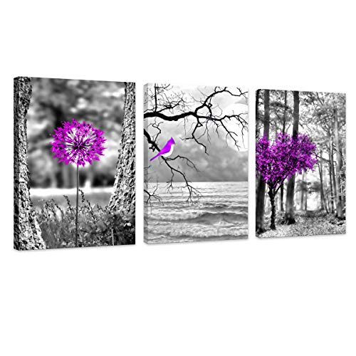 HUADAOART Wall Art for Living Room Purple Birds and Flowers Landscape Purple Art Canvas Prints Art Work Framed Perfect 3 Panels Wall Decorations Bedroom Office Each Panel Size:12x16inches 3pcs/Set