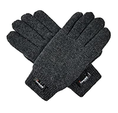 Bruceriver Men's Pure Wool Knitted Gloves with Thinsulate Lining and Elastic Rib Cuff