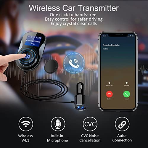 Bluetooth FM Transmitter Black ELEGIANTFurmores4602 ELEGIANT FM Transmitter Radio Adapter Hands-Free Car Kit with 1.4 Inch Display,Supports TF Card Slot /& Dual USB Charging Ports,Safe Driving with One Key Control
