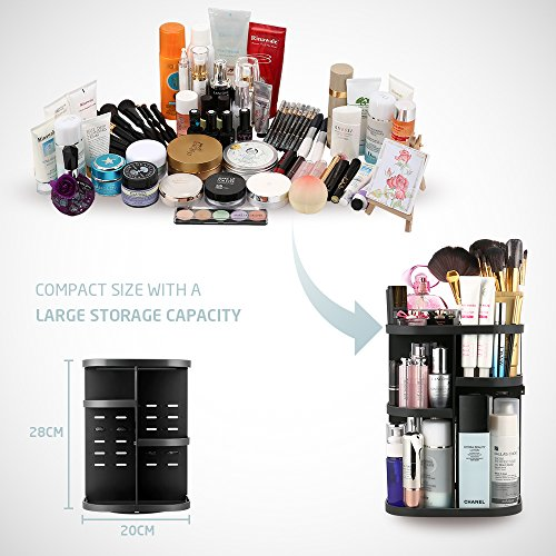 Jerrybox Makeup Organizer 360 Degree Rotation Adjustable Multi-Function Cosmetic Storage Box, Large Capacity, 7 Layers, Fits Toner, Creams, Makeup Brushes, Lipsticks and More (Black) by Jerrybox (Image #2)