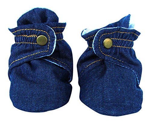 trimfit Baby Boys' Infant 1-Pack Booties with Clasp, Denim Blue/Grey, Small/3 Months (Booties Cotton)