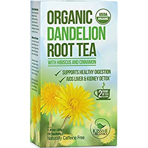Organic Dandelion Root Tea - With Hibiscus & Cinnamon - USDA Organic - Supports Healthy Digestion - Aids in Liver & Kidney Detoxification - TWO HEAPING GRAMS PER TEA BAG- 20-Count Boxes (Pack of 5)