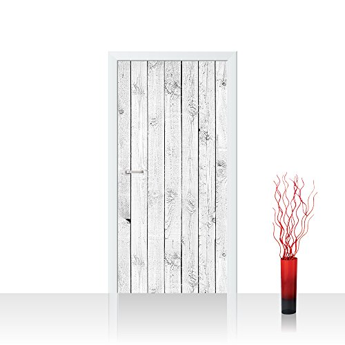 Vlies Türtapete 100x211 cm PREMIUM PLUS Tür Fototapete Türposter Türpanel Foto Tapete Bild - WHITE PAINTED WOODEN WALL - Holzoptik Holzwand, HolzPanel, weißes Holz - no. 085